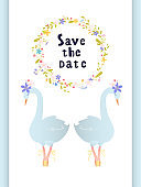 An invitation design. Swans and a wreath.