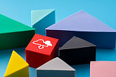 Cloud & social media icon on colorful jigsaw puzzle