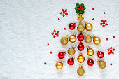 Flat lay of Christmas ornaments set as a pine tree.