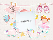 Holiday card design with a little princess, unicorns, booties.