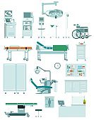 Set of medical equipment in flat style