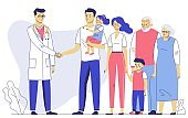 Family doctor concept with patients. Consultation and diagnosis in hospital.