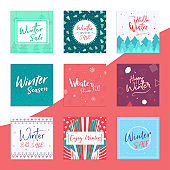 Winter background pack set of decorative banners