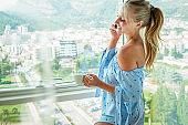 woman enjoying mornings at home