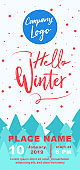 Winter DL Flyer Banner poster template vector illustration Background greeting card