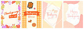 Thanksgiving DL Flyer Banner poster template vector illustration Autumn holiday greeting card set