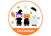 Happy Halloween. Vector illustration. witch, pumpkin, ghost. Round frame.
