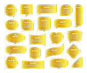 Quote frames gold shiny textboxes Blank template of different shapes with the place for text, design for  quotes.