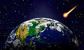 Attack of the asteroid on the Earth. Elements of this image are furnished by NASA