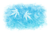 Japanese blue white maple leaf abstract on natural watercolor sky background, vector illustration