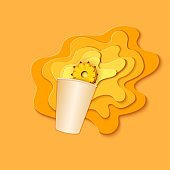 Paper cup with splash pouring juice. Bursts of pineaplple juice in layers spread over the yellow background and a piece of juicy ananas in paper style. Vector illustration origami art