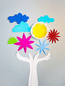 Hands holding the Nature, concept paper cut design background