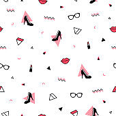Trendy pattern with black high heel shoes, red lips, sunglasses and geometric shapes. Fashion background in 90s 80s style. Triangle, zigzag and other graphic elements. Linear design.