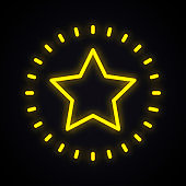 Neon star sign. Glowing star shape symbol.