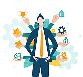 Businessman surrounded by the hands offering him cares growth, money, opportunity, support and help in business developing, Start up, new business, success, advisory and assurance.
