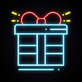 Neon gift box with ribbon sign. Prize, present, win, bonus, reward, gift box theme. Happy Birthday glowing symbol.