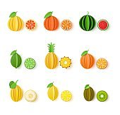 Set of tropical fruits in paper cut style. Whole and sliced orange, tangerine, pineapple, lime, lemon, grapefruit, melon, watermelon, kiwi in origami art. Vector card illustration