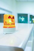 Ionizing radiation hazard symbol in x-ray laboratory.