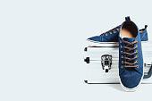 Fashionable men's shoes isolated on white background
