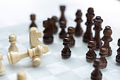 Chess board game, business competitive concept, encounter difficult situation, losing and winning, copy space