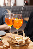 Spritz cocktail and  Italian food