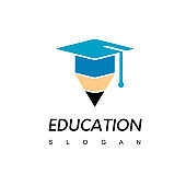 Pencil Icon With Graduation Hat Symbol For Education Logo