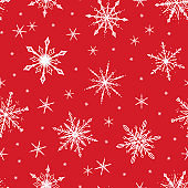 Snowflakes Vector Seamless Pattern. Winter Holiday Christmas and New Year. Snowfall White Red Background. Snow Print Wallpaper