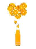 bottle with fresh orange juice is standing under many orange slices on white background