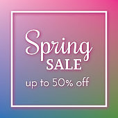 Spring Sale Banner on colorful background