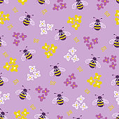 Seamless floral pattern with bee and small flowers