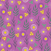 Seamless floral pattern with chamomile, yellow flowers, clover and herbs