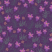 Seamless floral pattern with viola and sweet pea leaves