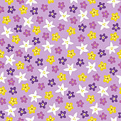 Seamless floral pattern with colorful flowers on light violet background