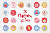 Christmas circle stickers with ball, gift, bauble, snowflake, mushroom, berry