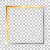 Gold shiny square frame with glowing effects