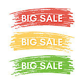 Set of three sale banners on the colorful spots