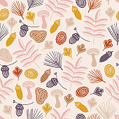 Autumn seamless pattern with acorn, mushroom, leaves, fir branches