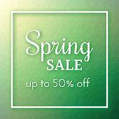 Spring Sale Banner on polygonal background