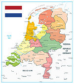 Netherlands Administrative Divisions Map Isolated On White