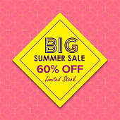 Summer sale 60% offer label sticker, sale discount price tag,