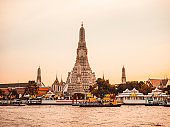 Wat Arun temple in Bangkok at sunset, Thailand