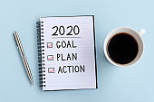 Goal, Plan and Action text on notepad