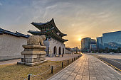 Seoul South Korea, Sunrise city skyline at Gwanghwamun Gate