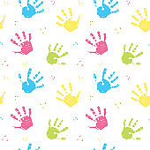 Hand stamp seamless pattern, paint stain background vector illustration
