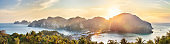 Phi-Phi island sunset panorama from viewpoint on mountain