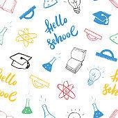 School seamless pattern Hand Drawn Doodles, Vector Illustration