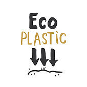 Eco Plastic Lettering label. Calligraphic Hand Drawn eco friendly sketch doodle. Vector illustration