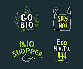 Eco and Bio Hand Drawn labels Set. Calligraphic Letterings with eco friendly sketch doodle elements. Vector illustration