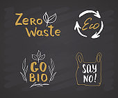 Eco and Bio Hand Drawn labels Set. Calligraphic Letterings with eco friendly sketch doodle elements. Vector illustration on chalkboard background