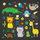 Animal Doodles Set. Cute Animals sketch. Hand drawn Cartoon Vector illustration on chalkboard background